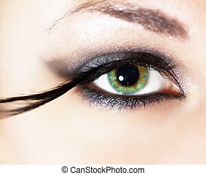 mode, oog makeup