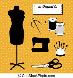 mode, or, couture, polka, il, vous-même, mannequin, accessoires, fond, modèle, point