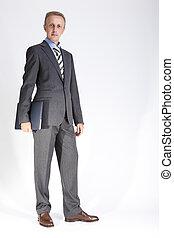 mode, ordinateur portable, contre, poser, calme, complet, portrait, homme affaires, caucasien, white.
