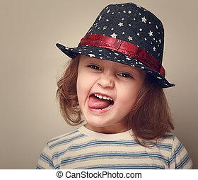 mode, ouderwetse , gezichten het trekken, closeup, hat., verticaal, meisje, geitje, vrolijke