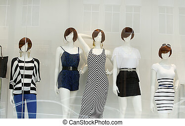 mode, på, fönster, modell