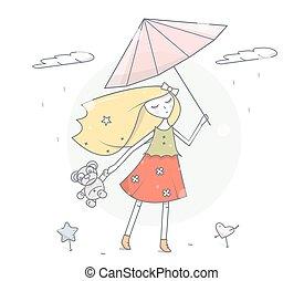 mode, parapluie, illustration., simple, moderne, caractère, vecteur, rain., sous, girl, dessin animé, design.