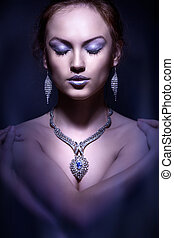 mode, photo, élégant, woman., portrait, studio
