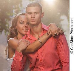 mode, photo, de, sexy, élégant, couple, dans, les, tendre,...