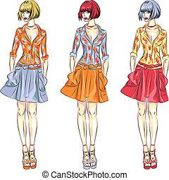 mode, piger, vektor, top, modeller, smukke