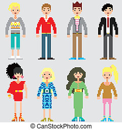 mode, pixel, mensen