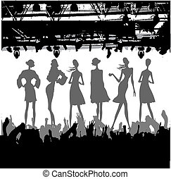 mode, podium, silhouette