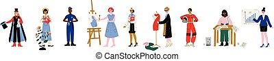 mode, police, jardinier, ensemble, aastronaut, professions, écrivain, illustration, artiste, docteur, officier, vecteur, divers, femme affaires, concepteur, magicien, femmes