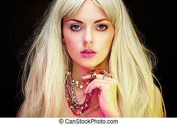mode, porträt, von, elegant, blond, frau, mit, prächtig, haar