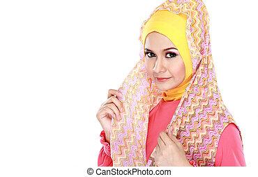 mode, porträt, von, junger, schöne , moslem, frau, mit, rosa, kostüm, tragen, hijab, freigestellt, weiß, hintergrund