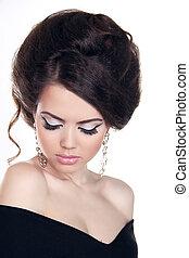 mode, porträt, von, schöne , girl., mode, stil, woman., hairstyle., freigestellt, weiß, hintergrund., schoenheit, stilvoll, modell, porträt
