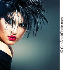 mode, portrait art, de, beau, girl., vogue, style, femme