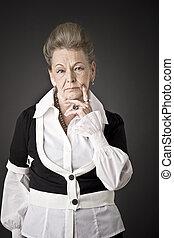 mode, portrait, de, a, personne agee, dame