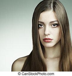 mode, portrait, de, jeune, beau, woman., closeup