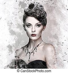 mode, portrait, de, jeune, belle femme, à, bijouterie