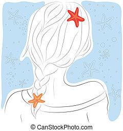 mode, portrait, longs cheveux, hand-drawn, femme, femme, écoulement