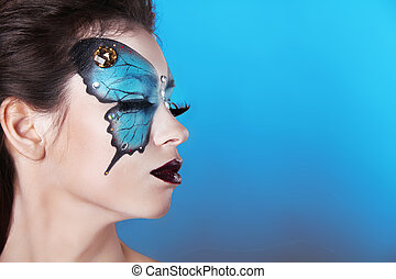 mode, portrait., makeup, maken, kunst, woman., vlinder, gezicht, mooi, boven.