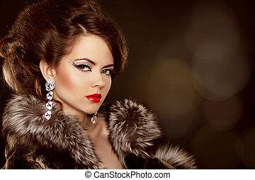 mode, portrait., mooie vrouw, met, avond, make-up., juwelen,...