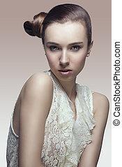 mode, portret van meisje