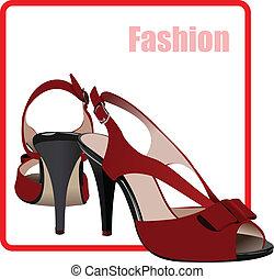 mode, poster., skor, kvinna, vec, röd