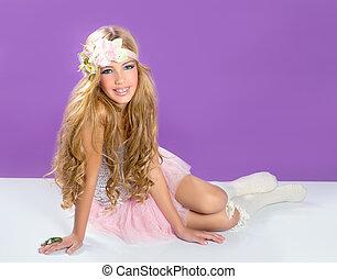 mode, printemps, blonds, girl, fleurs, princesse