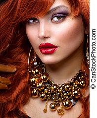 mode, röda haired, flicka, portrait., smycken