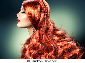 mode, röda haired, flicka, stående