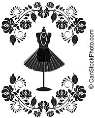 mode, ram, halsband, skyltdocka, blommig, kjol, kort
