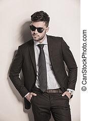 mode, regarder, complet, cravate, modèle, frais
