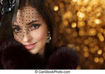 mode, retro, porter, manteau, fond, beau, portrait., noël, luxe, vacances, fourrure, femme, sur, femme, bokeh, chapeau, sourire, voile, élégant
