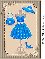 mode, robe, dans, retro style, et, accessoires