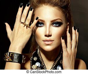 mode, rocker, firmanavnet, model, pige, portræt
