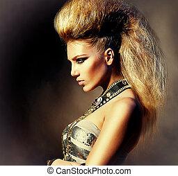 mode, rocker, firmanavnet, model, pige, portrait., hairstyle