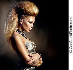 mode, rocker, stil, modell, m�dchen, portrait., frisur