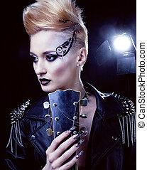 mode, rocker, stil, modell, m�dchen, portrait., hairstyle., punker, frau