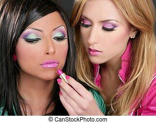 mode, rouge lèvres, poupée, maquillage, filles, 1980s, retro...
