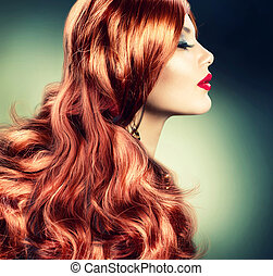 mode, rouge réticulé, girl, portrait