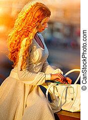 mode, rouges, femme, dans, automne, printemps, robe, sur,...