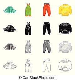 mode, satz, illustration., gewand, gegenstand, freigestellt, vektor, icon., watte, bestand