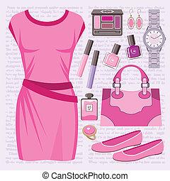mode, satz, mit, a, beiläufiges kleid