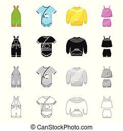 mode, satz, stock., gewand, gegenstand, freigestellt, vektor, icon., watte, ikone