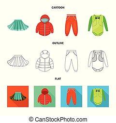 mode, satz, stock., gewand, gegenstand, symbol., freigestellt, vektor, watte, ikone