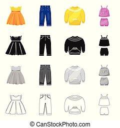 mode, satz, stock., gewand, zeichen., gegenstand, freigestellt, vektor, watte, ikone