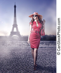 mode, schöne frau, in, paris, frankreich