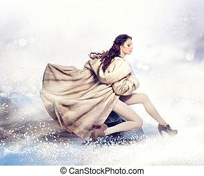 mode, schöne , winter, frau, in, luxus, pelz, nerz, mantel