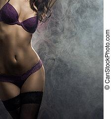mode schießt, von, junger, sexy, frau, in, damenunterwäsche