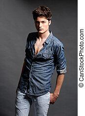 mode schiet, met, mannelijke , model