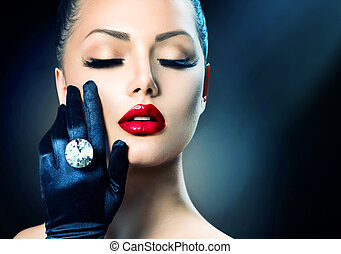 mode, schoenheit, aus, glanz, schwarz, porträt, m�dchen