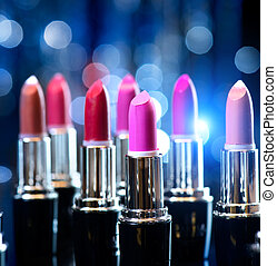 mode, schoenheit, bunte, aufmachung, lipsticks., professionell