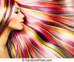 mode, schoenheit, bunte, gefärbtes haare, modell, m�dchen